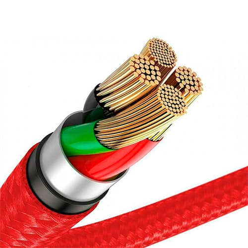 Baseus Horizontal Data Cable (With An Indicator Lamp) USB For iP 1.5A 2m Red